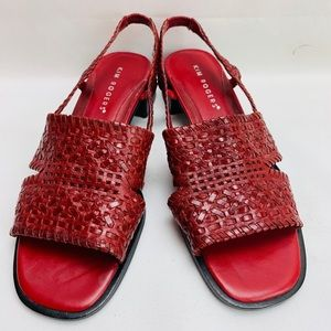 Kim Rogers Braided Leather Sandals Red Size 7